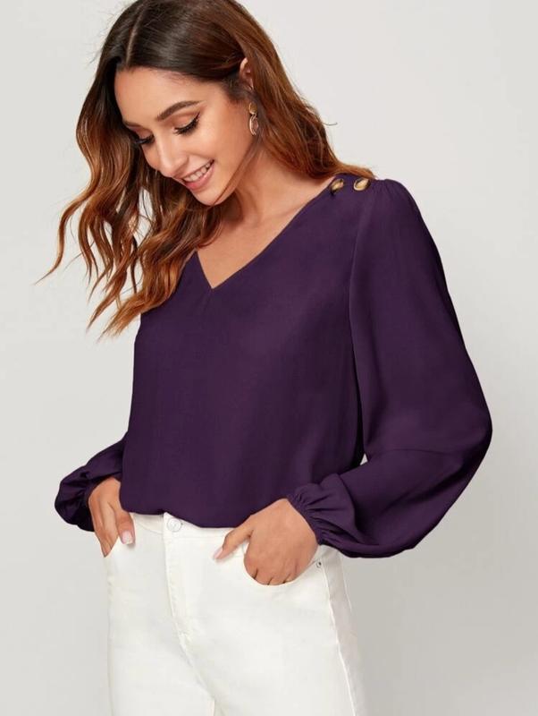 Блуза с рукавами на резинке - Фото 4