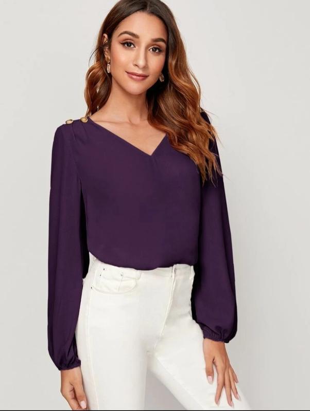 Блуза с рукавами на резинке - Фото 5