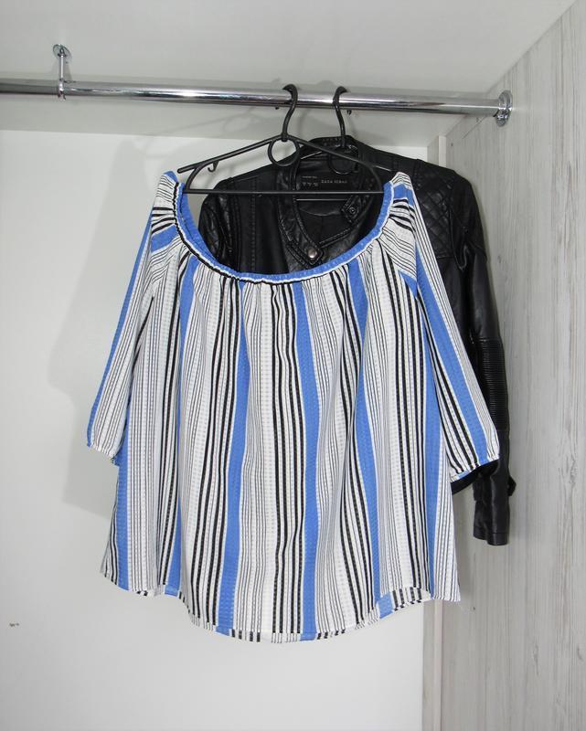 Акция до нового года! №114 блуза рубашка в полоску на плечах о...