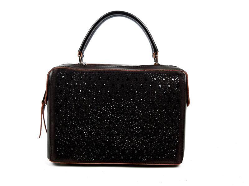 Женская кожаная сумка galanty темно-коричневая (шоколад) - Фото 2
