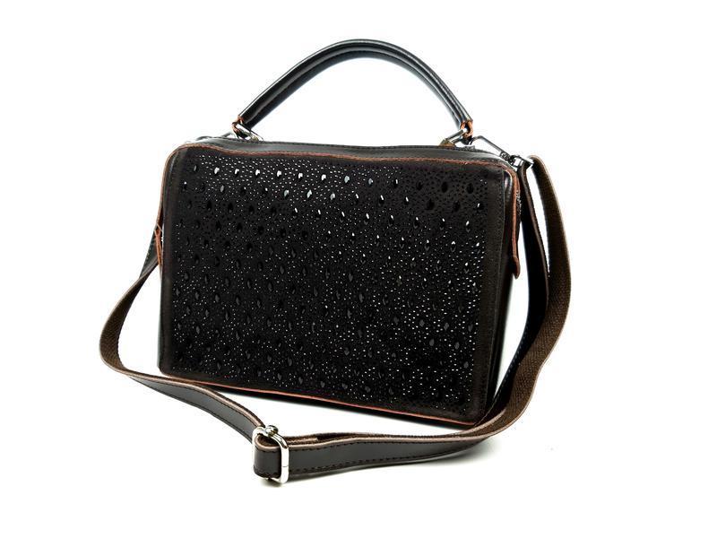 Женская кожаная сумка galanty темно-коричневая (шоколад) - Фото 5