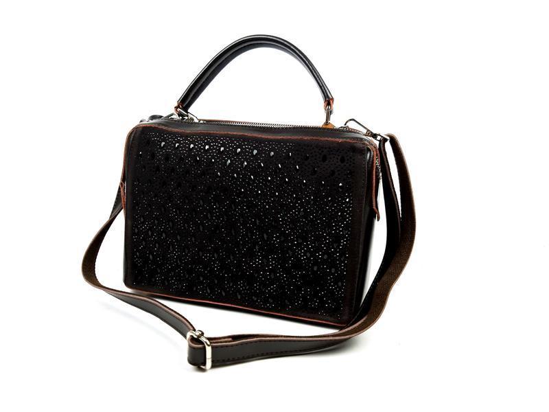 Женская кожаная сумка galanty темно-коричневая (шоколад) - Фото 6