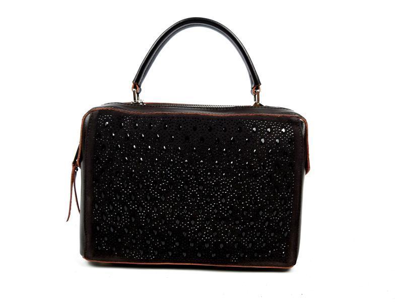 Женская кожаная сумка galanty темно-коричневая (шоколад) - Фото 8