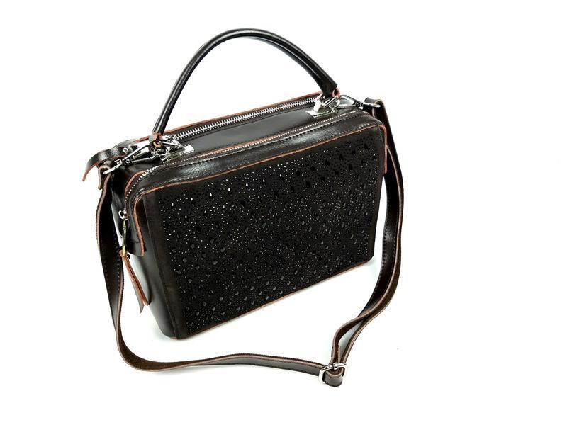 Женская кожаная сумка galanty темно-коричневая (шоколад) - Фото 10