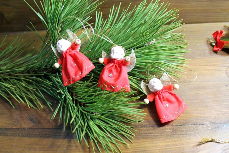 Антикварные новогодние игрушки ангелочки для елки набор Германия