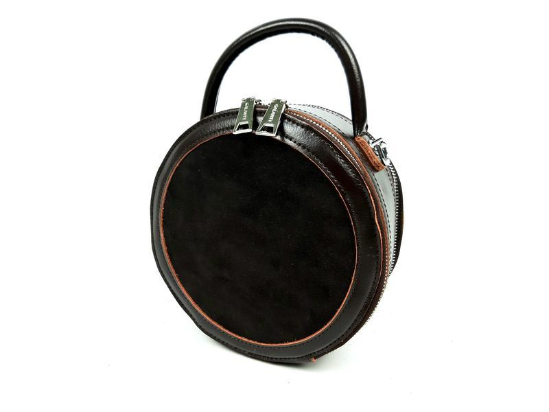 Женская круглая коричневая кожаная сумка