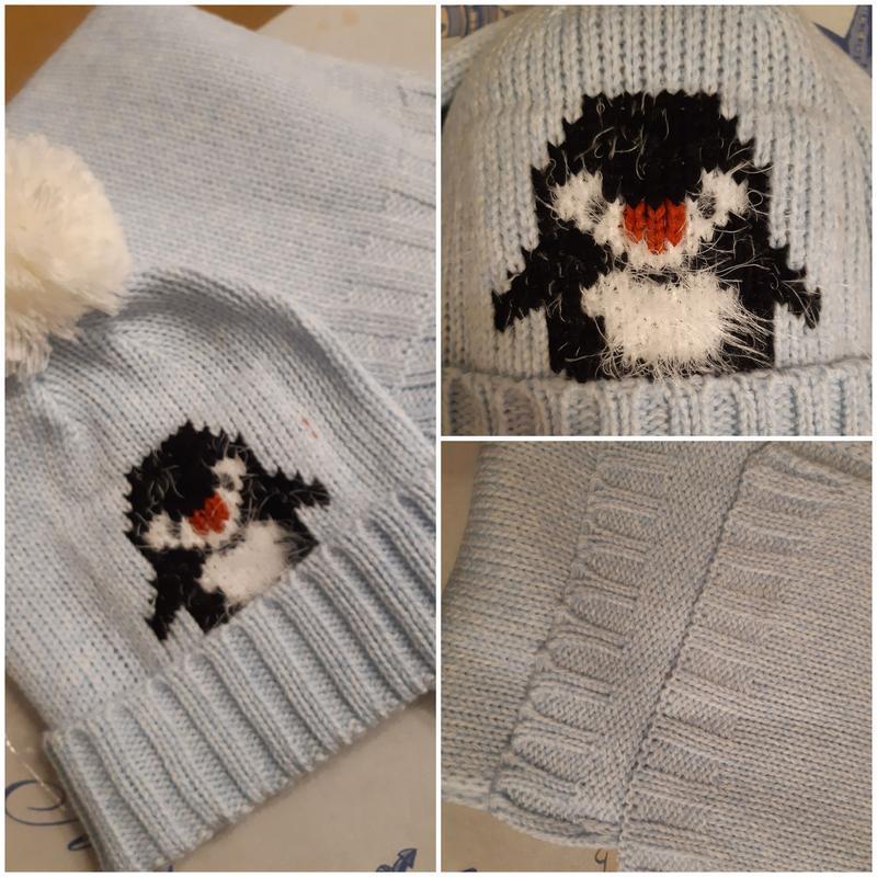 Шапка с пингвином и шарф, нежный голубой цвет, подойдет и маль...