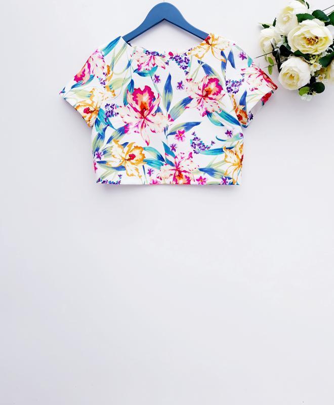 Сказочная блуза укороченая блуза в цветочный принт