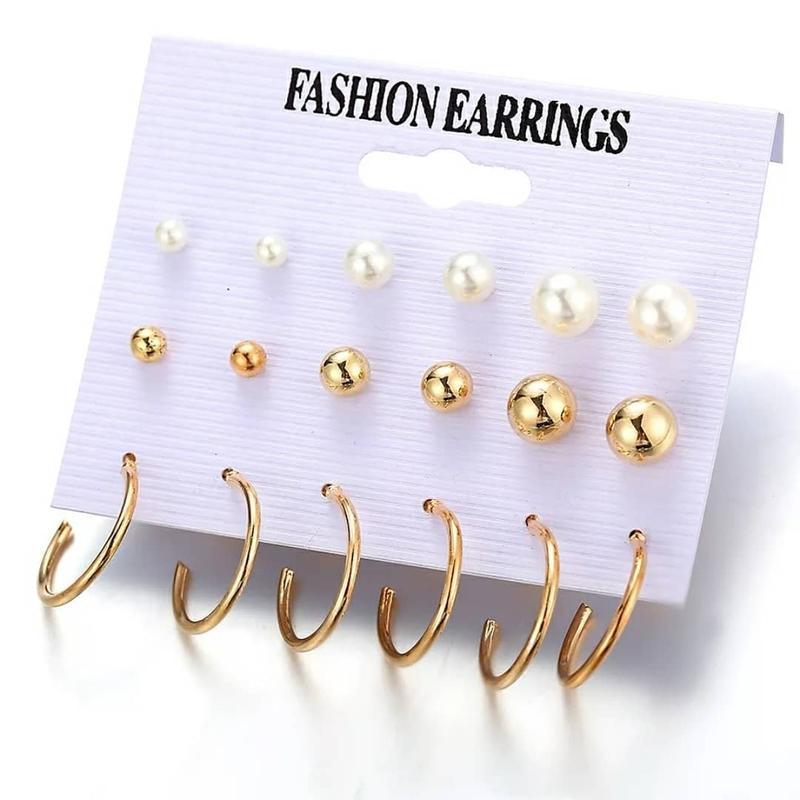 Сережки гвоздики набор 9 пар