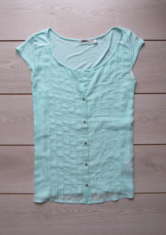 Акция до нового года! №107 мятная рубашка блуза с коротким рук...