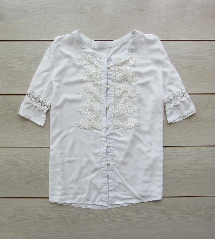 Акция до нового года! №140 нежная блуза рубашка с гипюровой вс...