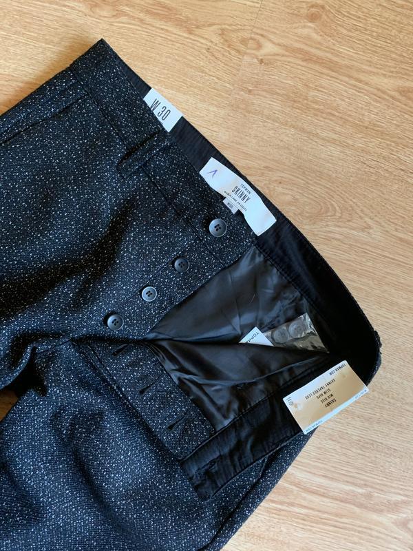 Чёрные скини брюки с шерсти с вкраплением нитей как космос