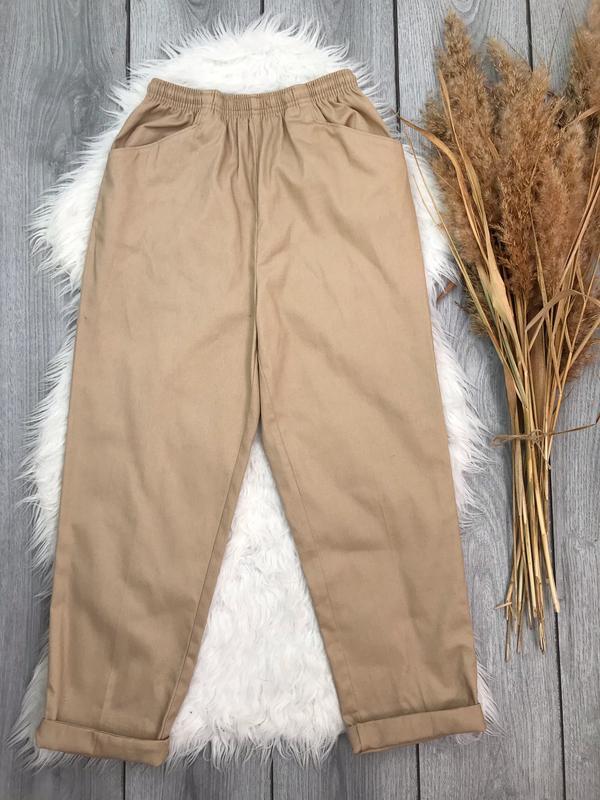 Amber штаны тренд сезона цвет кэмл бежевый джогеры с высокой п...
