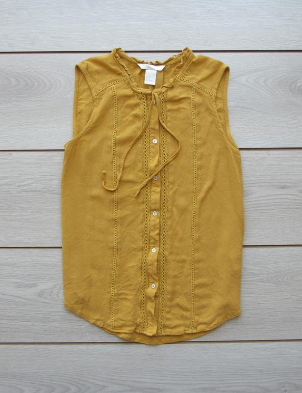 Акция до нового года! №93 горчичная майка блуза безрукавка от h&m