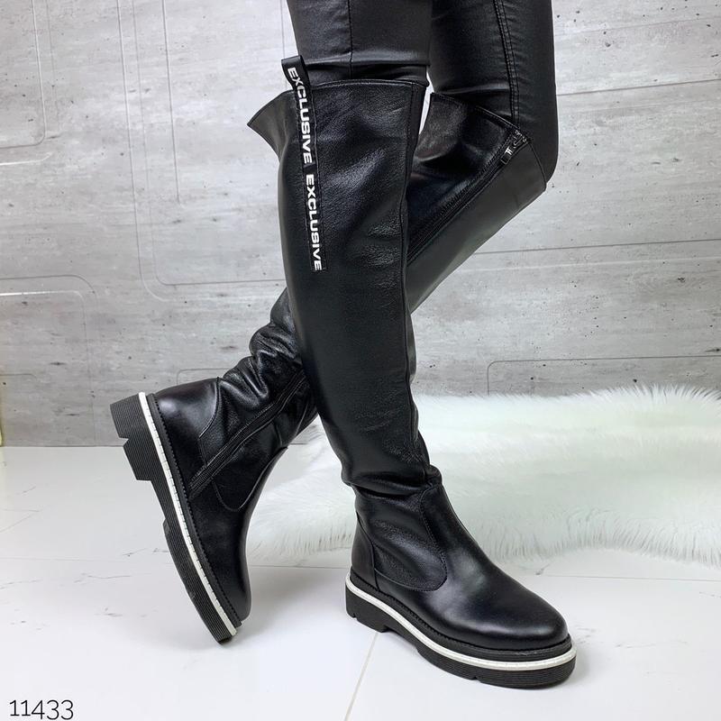 Шикарные кожаные зимние сапоги ботфорты,стильные зимние сапоги...