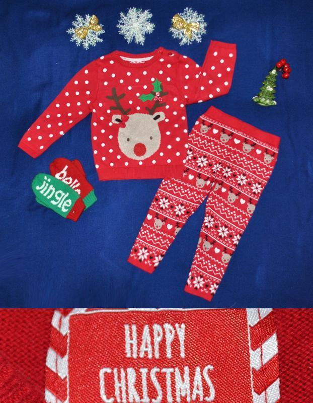 Новогодний костюм свитер с оленем и рейтузы р.92