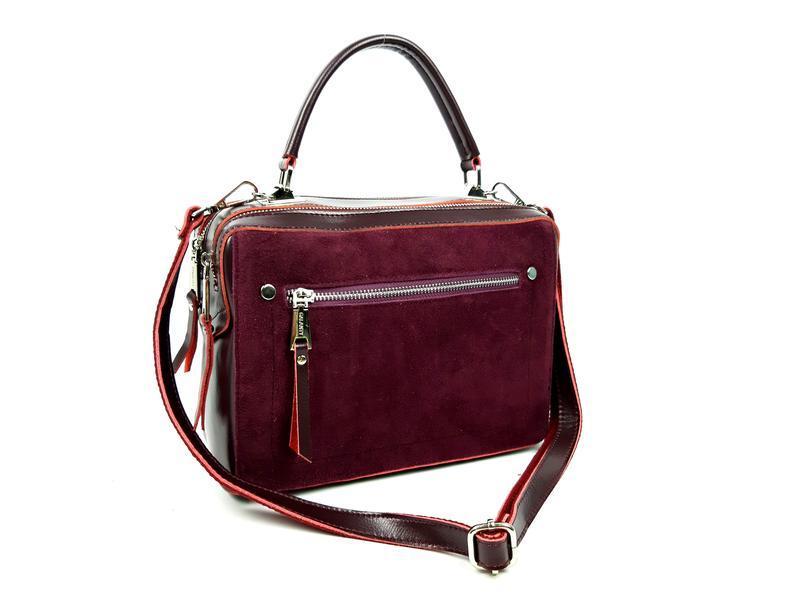 Женская кожаная бордовая сумка со вставками из замши