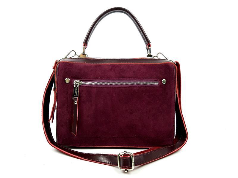 Женская кожаная бордовая сумка со вставками из замши - Фото 2