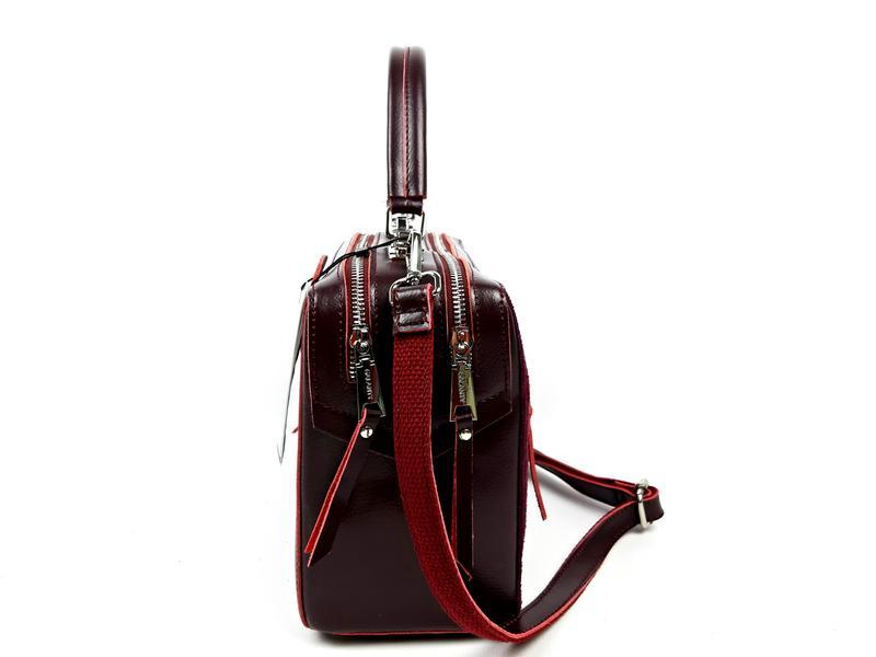 Женская кожаная бордовая сумка со вставками из замши - Фото 3
