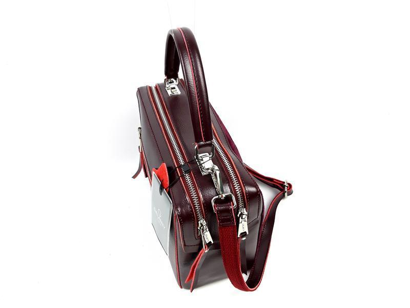 Женская кожаная бордовая сумка со вставками из замши - Фото 4