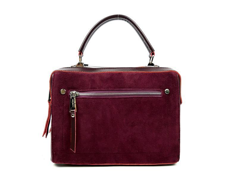 Женская кожаная бордовая сумка со вставками из замши - Фото 6