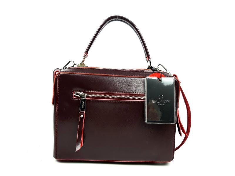 Женская кожаная бордовая сумка со вставками из замши - Фото 7
