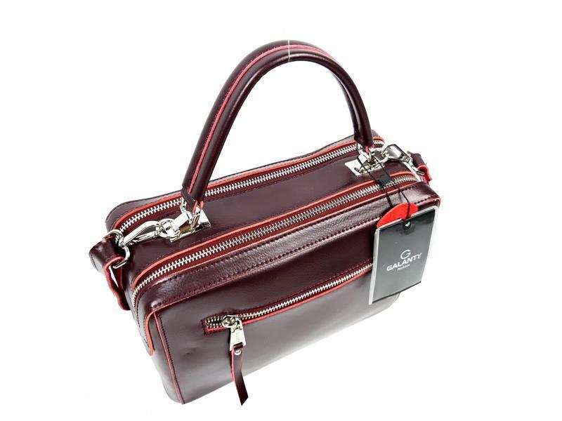 Женская кожаная бордовая сумка со вставками из замши - Фото 9