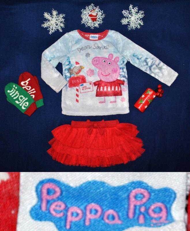 Костюм новогодний с пеппой батник травка и юбка пачка р.86