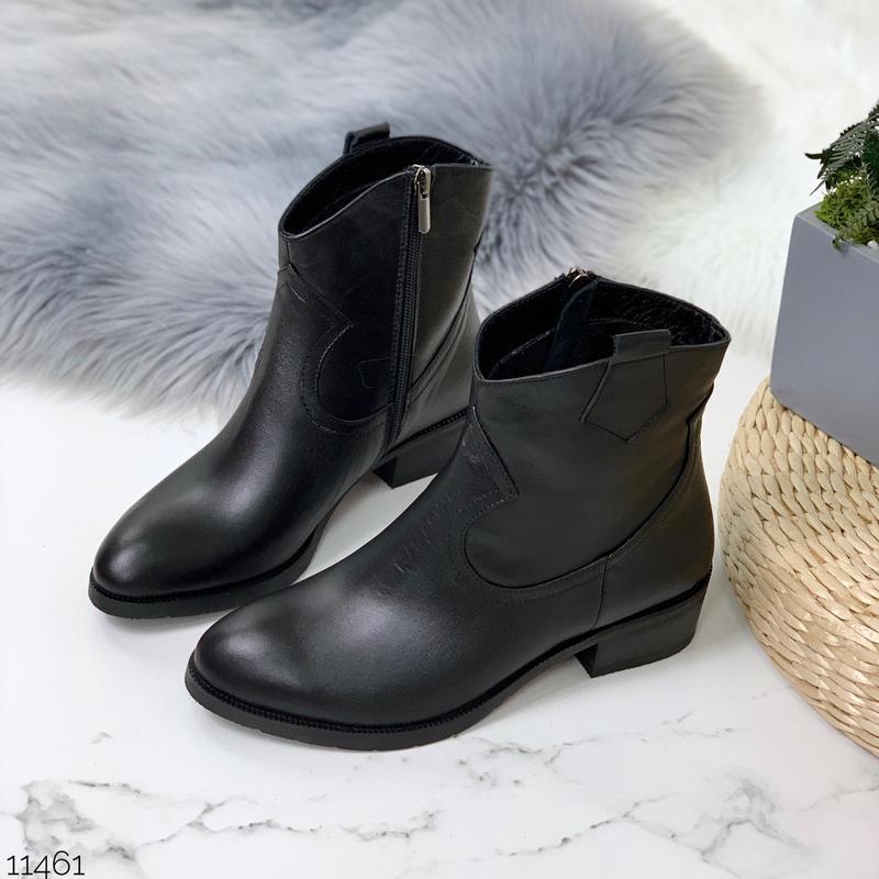 Зимние ботинки казаки из натуральной кожи, зимние кожаные боти...