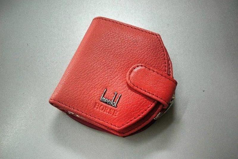 Кожаный женский маленький кошелек шкіряний жіночий гаманець кр...