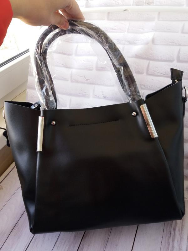 Кожаная большая сумка из натуральной кожи шкіряна жіноча чорная