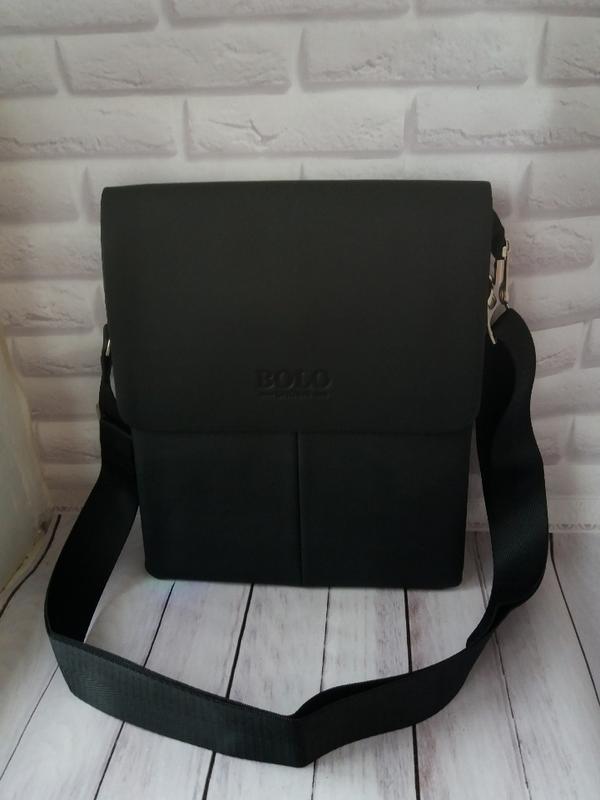 Мужска черная сумка из экокожи чоловіча шкіряна сумка кожаная