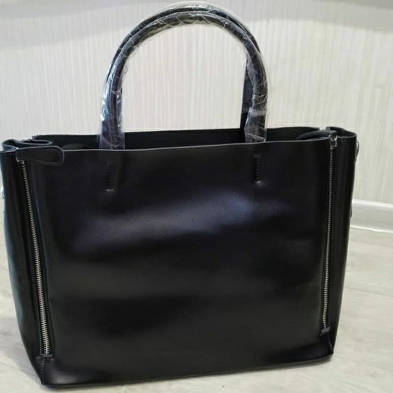 Женская кожаная сумка. черная большая жіноча шкіряна