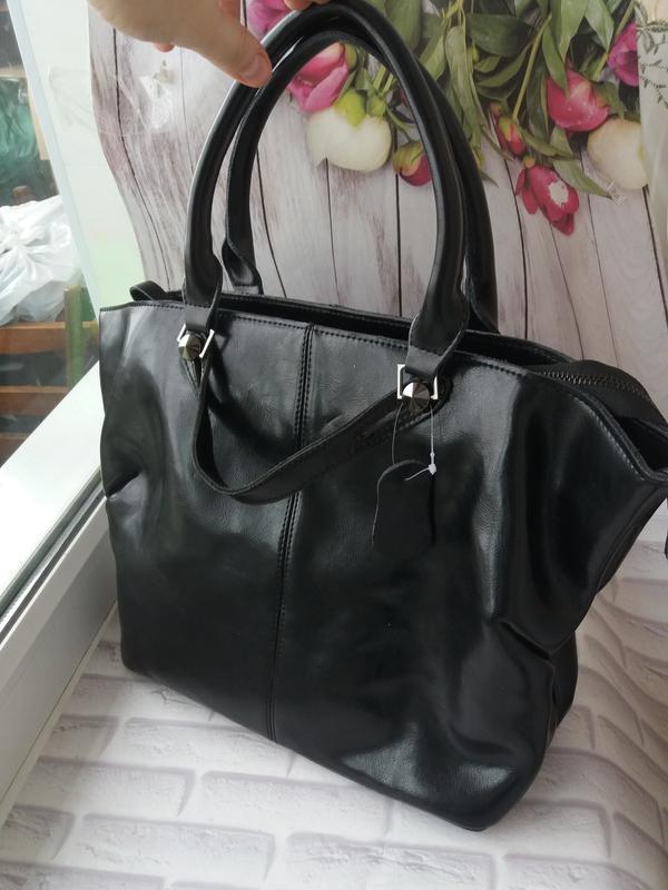 Женская сумка из натуральной кожи кожаная женская черная больш...