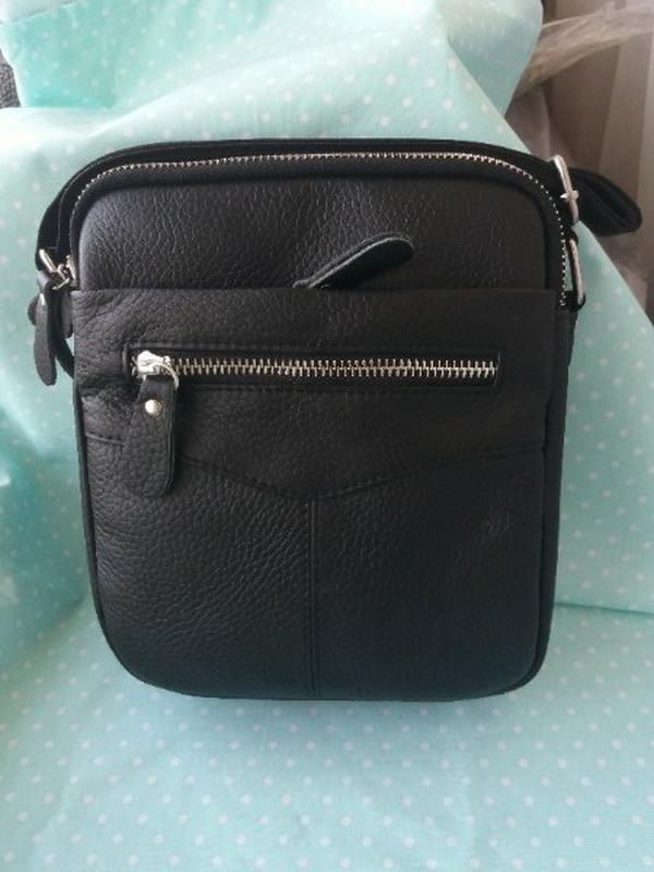 Кожаная мужская небольшая сумка на плечо из натуральной кожи