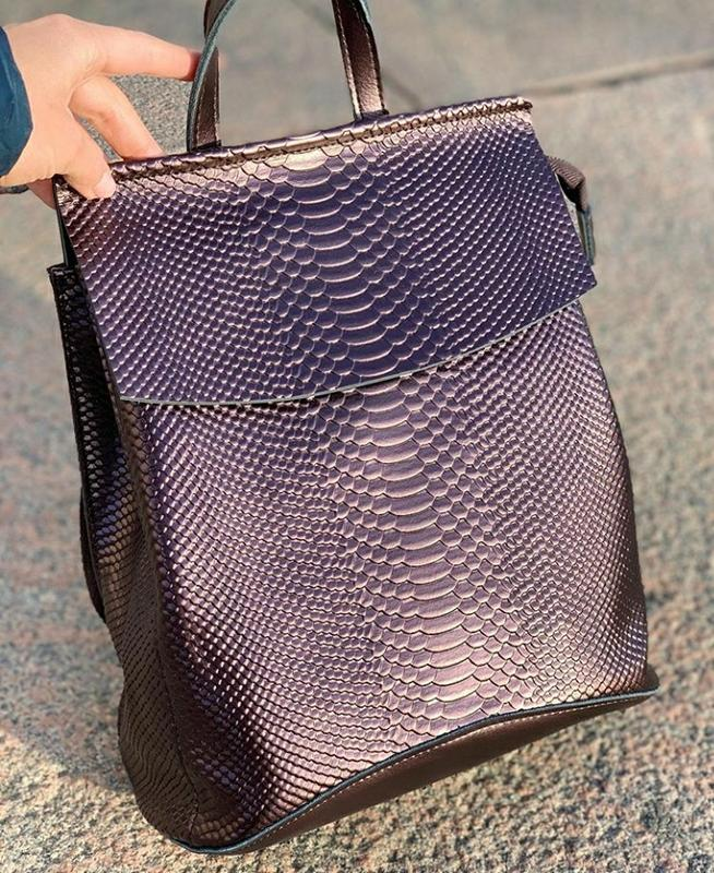 Женский кожаный рюкзак сумка трансформер кожаная женская из на...