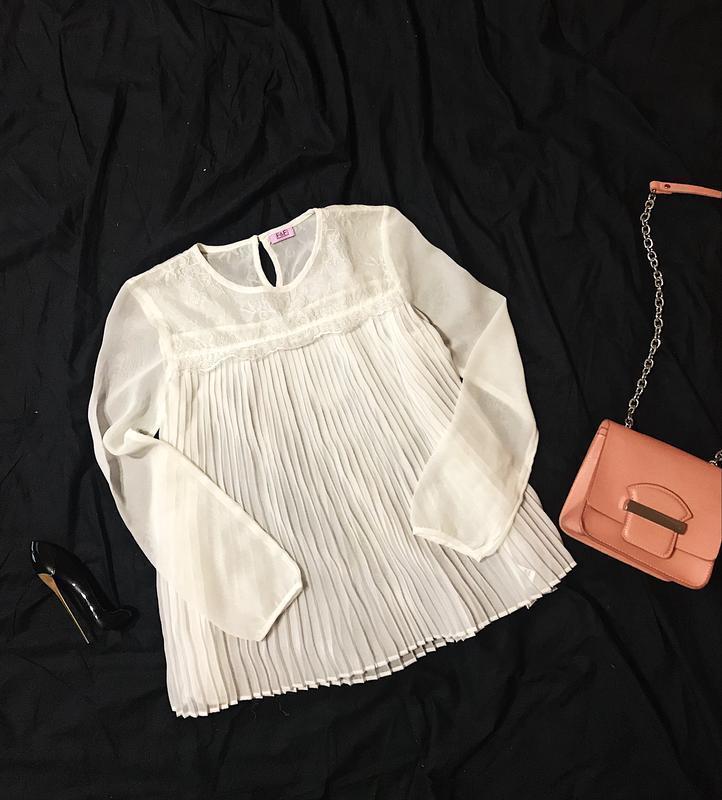 Шикарная нарядная полупрозрачная шифоновая блуза плиссе с круж...