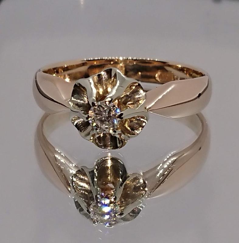 Золотое кольцо ссср золото 585, якутский бриллиант 0,13ct 18 р...