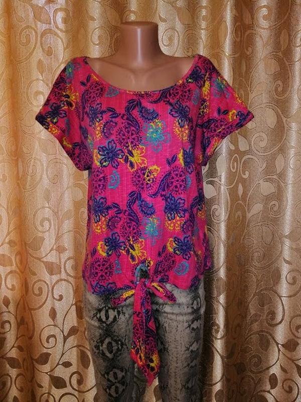🌺🎀🌺стильная женская трикотажная футболка, блузка с завязками 1...