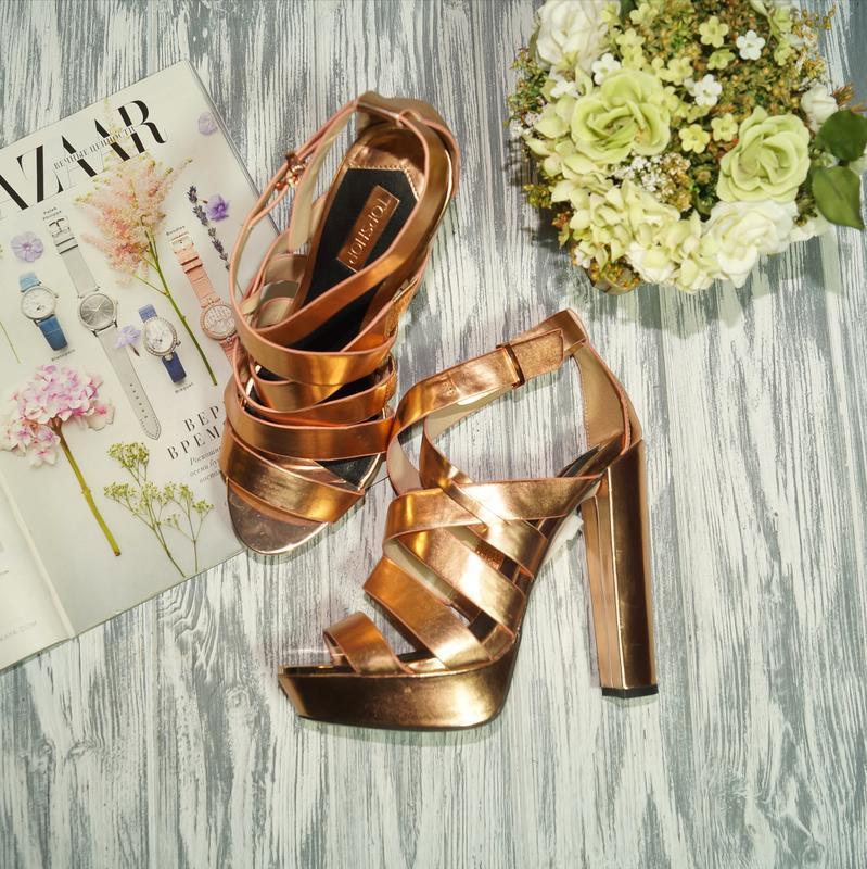 🌿бесплатная доставка 🌿topshop. роскошные босоножки с золотым н...