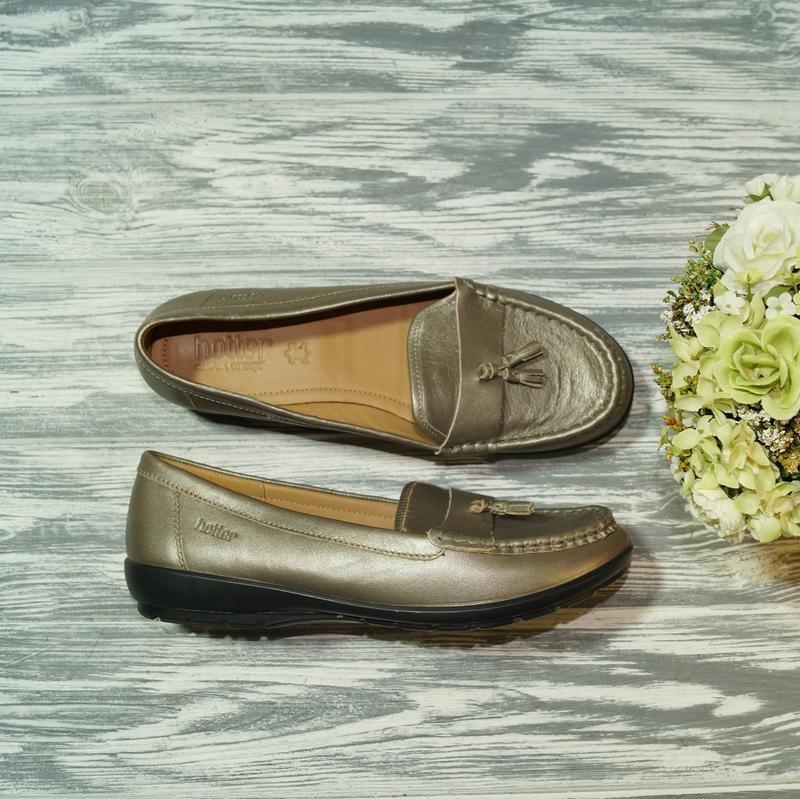 🌿40🌿hotter. кожа. англия. красивые золотые туфли, мокасины пре...