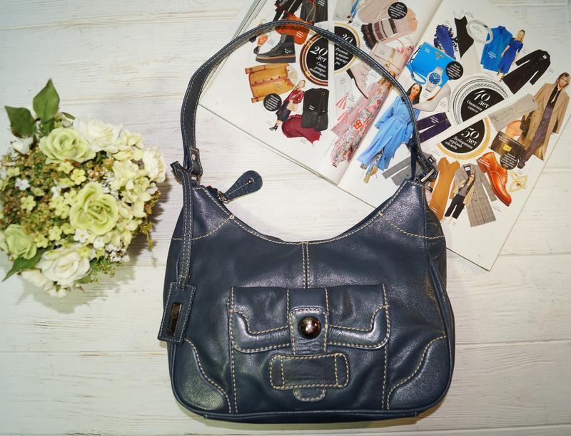 Кожа. синяя сумка средних размеров