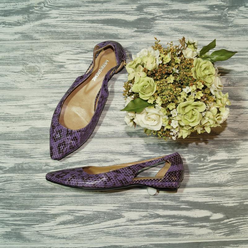🌿37🌿wonderchic. кожа. стильные открытые туфли лодочки на низко...