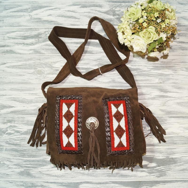 Замша. стильная сумка через плечо, кросс-боди в стиле бохо