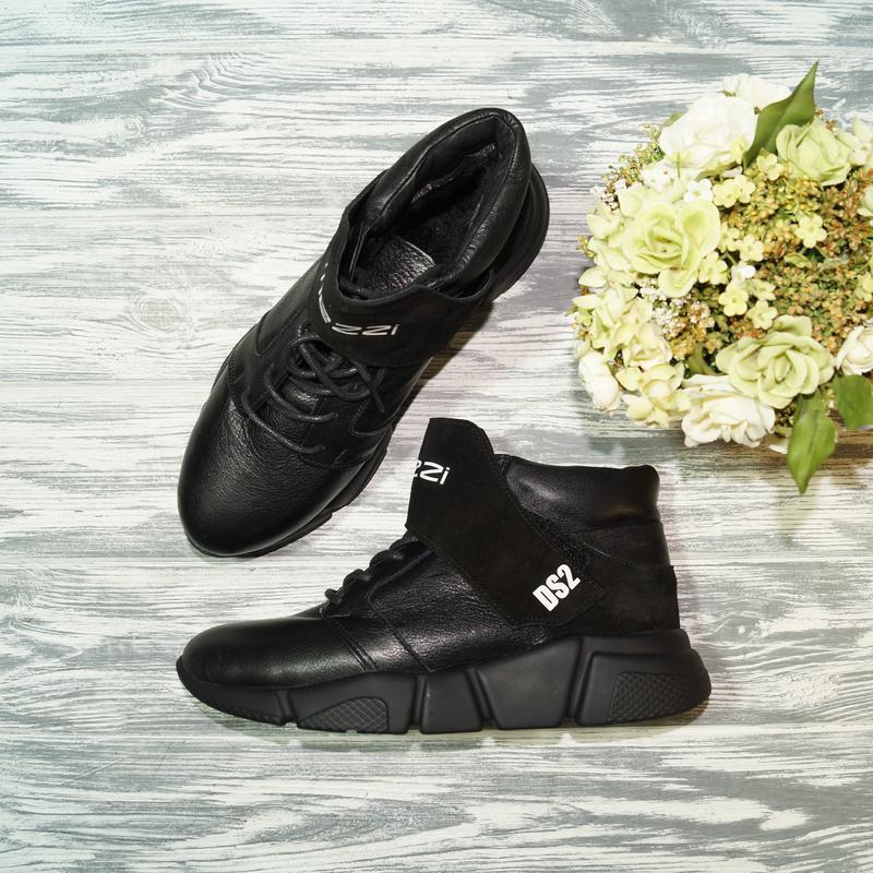 🌿37🌿38🌿кожа. стильные зимние кроссовки на платформе