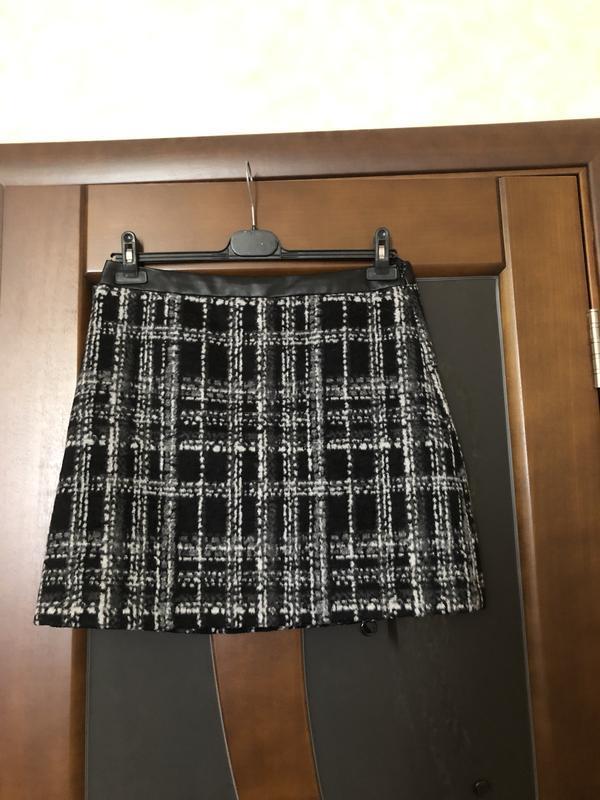 Твидовая юбка в клетку мини от бренда f&f р-р 48/l. новая. супер!