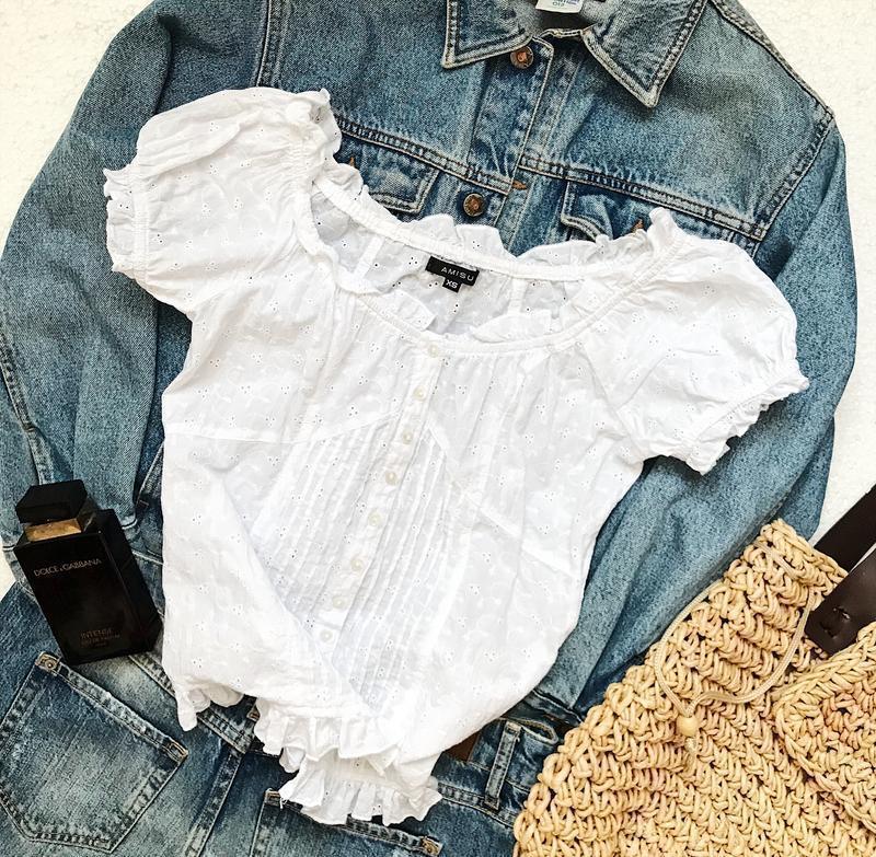 Шикарная белая блуза топ шитьё с рюшами