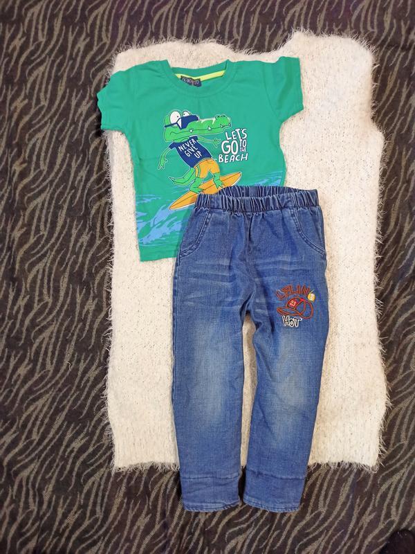 Джинсы на 2-3 года, рост 98-104см футболка