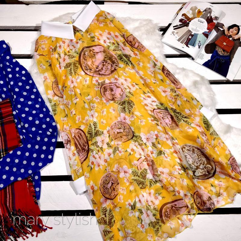 Шифоновая желтое платье туника прозрачное boohoo