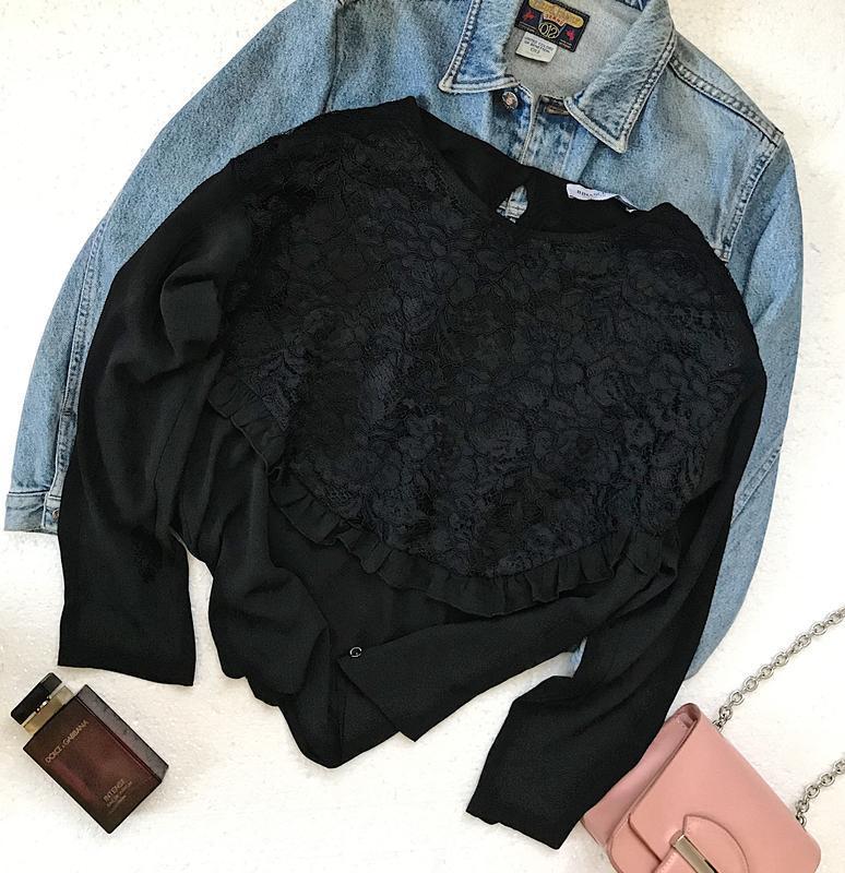 Шикарная чёрная шифоновая блуза с кружевом италия